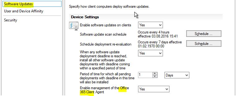 ConfigMgr 1606 – Configure Office 365 Client Agent Settings